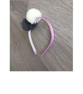 Diadema doble pompon lana